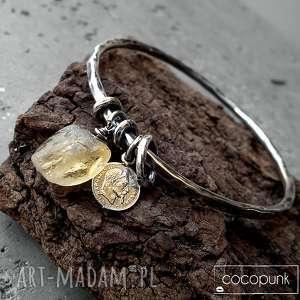 srebro i cytryn - bransoleta z zawieszkami, cytryn, monetka, zawieszki