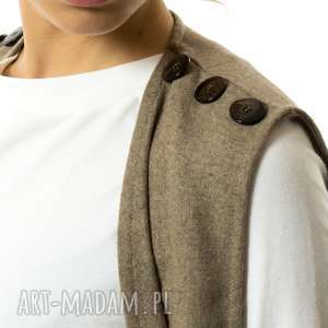 kamizelki kamizelka sophia marrone, wełniana, do-pracy, do-koszuli, długa