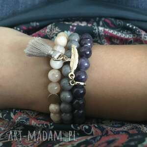 3 bransoletki z kamieni ozdobnych - bransoletki, kobieta, biżuteria, kaniemie