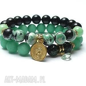 green double /21 01 15/ duo, jaspis, jadeity, kamienie, swarovski, moneta