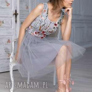 sukienka tiulowa z haftowaną koronką -bg-tl, tiulowa, haftowana, wesele, wieczorowa