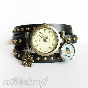 Prezent Bransoletka, zegarek - Kolorowy ptak czarny, nity, skórzany,