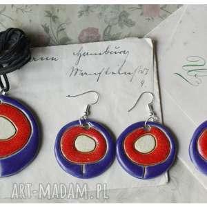 wylegarnia pomyslow zestaw biżuterii kwiatowej, ceramika, wisior, kolczyki, broszka