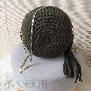 na ramię torebka okrągła biskvit zielona, torebka, szydełkowa, okrągła