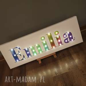 napis led twoje imię personalizowany prezent obraz tęcza lampa, imię, tęcza
