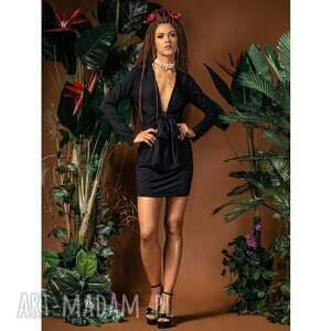eliza black - sukienka mini z głębokim dekoltem, kopertowa, mini, uniwersalna