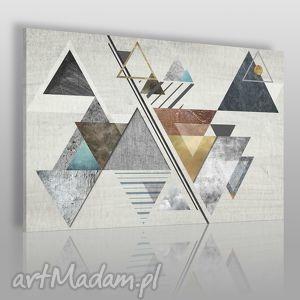 obraz na płótnie - abstrakcja trójkąty 120x80 cm 28201, trójkąty, skandynawski
