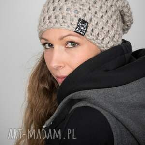 czapka mono 22 - jasna beżowa, czapa, zimowa, ciepła czapka, kolorowa