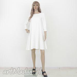7 - sukienka ecru, sukienka, rozkloszowana, trapez, mini, elegancka, sukienki