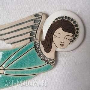 ceramika anioł ceramiczny - azure vela, anioł, chrzest, rzeźba, aniołek