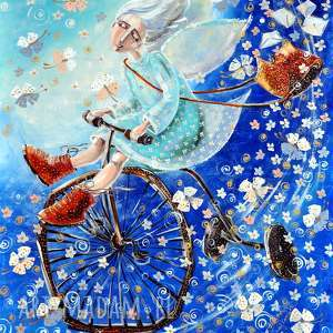 handmade dom anioł na rowerze