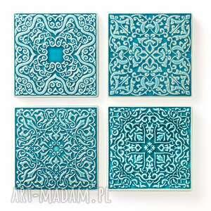 dekory cztery ornamenty turkus no 1, dekory, kafle, ornament, kafle ręcznie