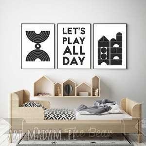ZESTAW PLAKATÓW dla dzieci Let s play all day A3, plakaty, obrazki, dziecko