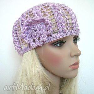 ażurowa czapeczka - lilowa - czapka, ażurowa, kwiat, ozdobna, mała, jasna