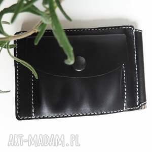 ręcznie robione portfele banknotówka skórzana z klipsem czarna