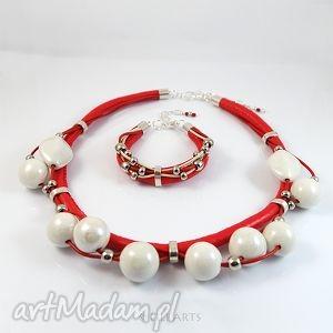 komplet - czerwony naszyjnik, bransoletka, ceramiczne, komplet, naszyjnik