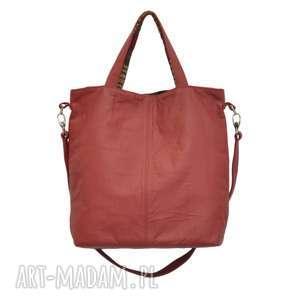 16-0014 czerwona duża torebka damska z paskiem na ramię jay, torebki-skórzane