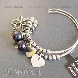 srebro, kolczyki naturalne czarne perły, zawieszki kolczyki