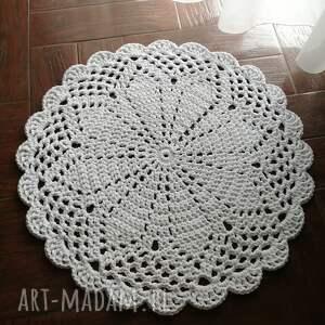 dywan szydełkowy ze sznurka bawełnianego 80cm, okrągły
