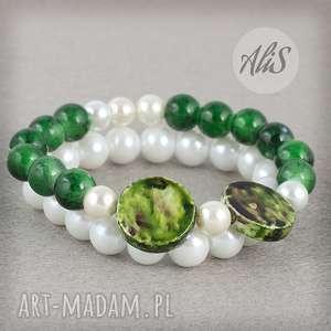 Perła z zielenią - ,perła,zestaw,dwie,elegancka,