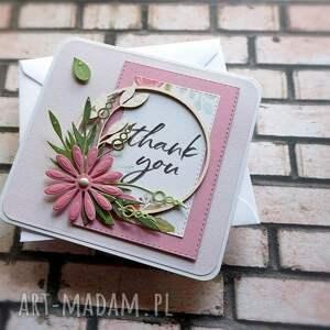 scrapbooking kartki pastelowy gest, podziękowanie, dziękuję, pastelowa, kwiaty