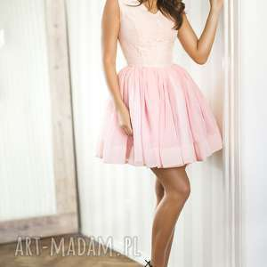 SUKIENKA LANA mini różowa, mini, rozkloszowana, koronka, szyfon, wesele, studniówka
