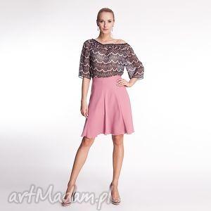 spódnice nadine - spódnica różowa, moda, krepa, wiosna, lato, wakacje, róż ubrania