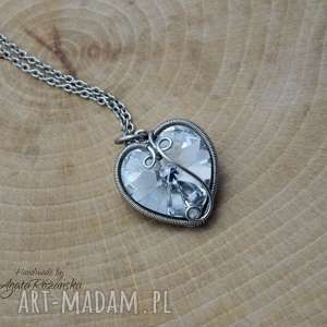Wisiorek swarovski heart crystal cal, wire wrapping, stal
