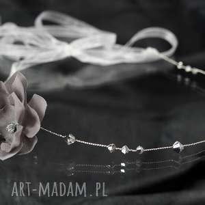 Opaska z jedwabnym kwiatem, swarovski, kryształ, kwiat, jedwab, ślub, ozdoba