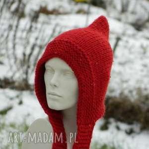 czerwony kapturek czapa elf - baśniowa, cekiny, ciepła, elf, zimowa, ciekawa
