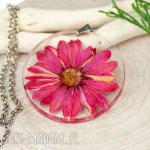 naszyjnik z suszonymi kwiatami w żywicy i cynie z450 - naszyjnik z kwiatem