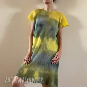 lniana tunika yellow gray ii, tunika, bluzka, sweter, lniana, ręcznie barwiona