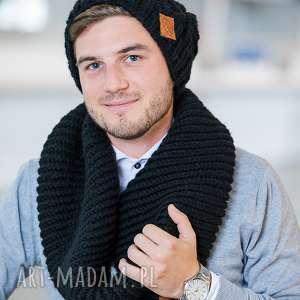 komin elegancki czarny czapka, włóczka, na zime, dla mężczyzn, szal