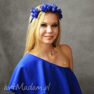 kwiecista opaska, kwiaty, granat, niebieski