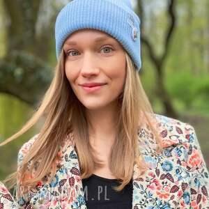 ręczne wykonanie czapki czapka wywijana dwustronna logo kolorowe baby blue