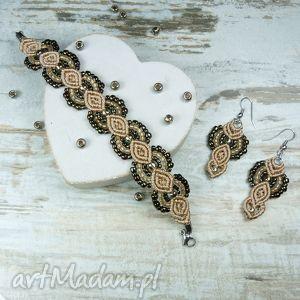 komplety elegancki komplet biżuterii odcieniach beżu i brązu, komplet, biżuteria