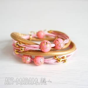 Prezent Bransoletka - Różowa - złota, rzemienie, owijana, romantyczna