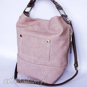 torba z kieszeniami pudrowy róż, torba, torebka na ramię