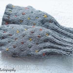 bezpalczatki 4 rękawiczki, mitenki, kokardka alpaka dziergane