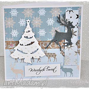 na święta prezenty Świąteczne renifery - kartka, święta, życzenia