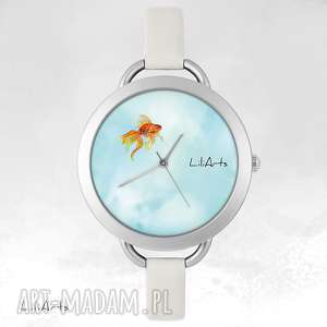 Prezent Zegarek, bransoletka - Złota rybka, zegarek, bransoletka, skórzana, grafika