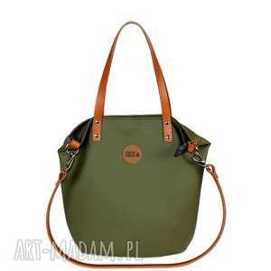 unikalny, torba worek ciemna oliwka, damska, do pracy, pojemna