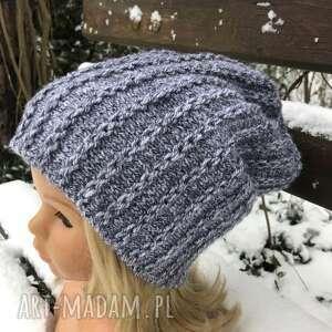 wyjątkowy prezent, czapka beanie długa, na drutach, ciepła