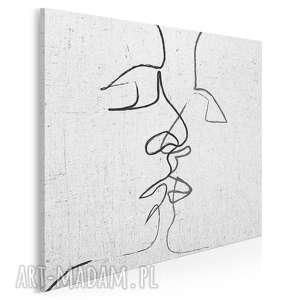 Obraz na płótnie - abstrakcja pocałunek w kwadracie 80x80 cm