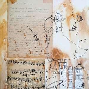 ręcznie zrobione dekoracje wielka miłość collage z użyciem starego listu miłosnego i nut