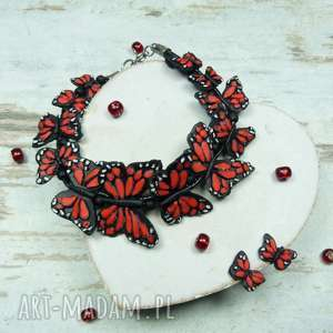 Prezent Komplet biżuterii motyle- czerwono czarny, motyl, motyle, komplet, prezent