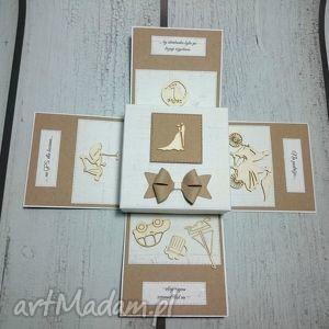 handmade kartki stylowe eksplodujące pudełeczko ślubne w stylu eko