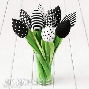 Prezent TULIPANY czarno-biały bawełniany bukiet, kwiaty, tulipany, rocznica