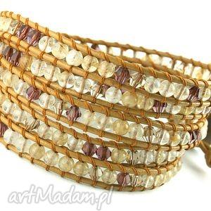 Snake Wrap: Kwarc kawowy, kamienie, rzemień, skóra, kwarc, kryształki,