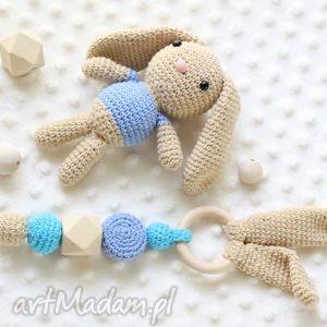 zestaw gryzak maskotka - gryzak, grzechotka, szydełkowe, króliczek, zabawka